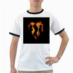 Heart Love Flame Girl Sexy Pose Ringer T-Shirts Front