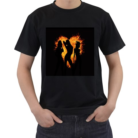 Heart Love Flame Girl Sexy Pose Men s T-Shirt (Black) (Two Sided)