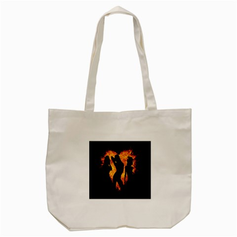 Heart Love Flame Girl Sexy Pose Tote Bag (Cream)