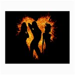 Heart Love Flame Girl Sexy Pose Small Glasses Cloth Front