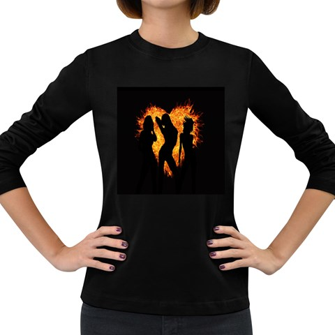Heart Love Flame Girl Sexy Pose Women s Long Sleeve Dark T-Shirts