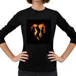 Heart Love Flame Girl Sexy Pose Women s Long Sleeve Dark T-Shirts Front