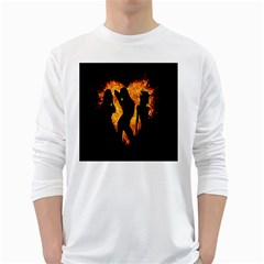 Heart Love Flame Girl Sexy Pose White Long Sleeve T-Shirts
