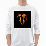 Heart Love Flame Girl Sexy Pose White Long Sleeve T-Shirts Front