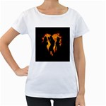 Heart Love Flame Girl Sexy Pose Women s Loose-Fit T-Shirt (White) Front