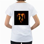 Heart Love Flame Girl Sexy Pose Women s Loose-Fit T-Shirt (White) Back