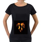 Heart Love Flame Girl Sexy Pose Women s Loose-Fit T-Shirt (Black) Front