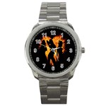 Heart Love Flame Girl Sexy Pose Sport Metal Watch Front