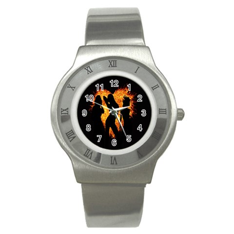 Heart Love Flame Girl Sexy Pose Stainless Steel Watch