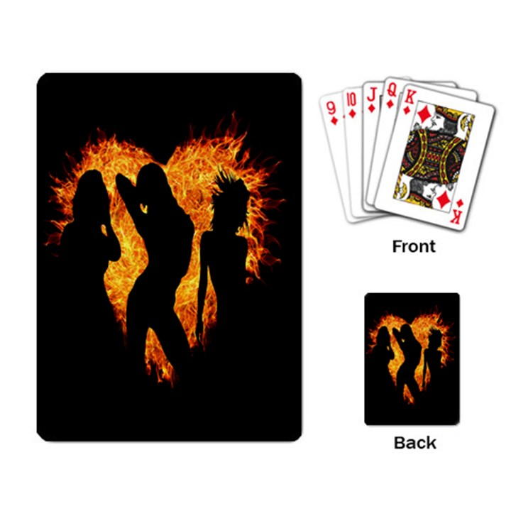 Heart Love Flame Girl Sexy Pose Playing Card