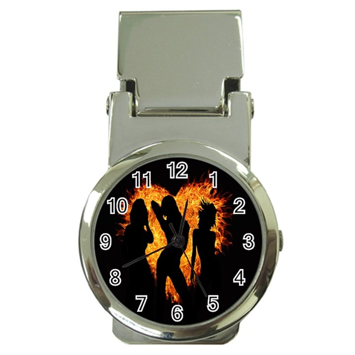 Heart Love Flame Girl Sexy Pose Money Clip Watches