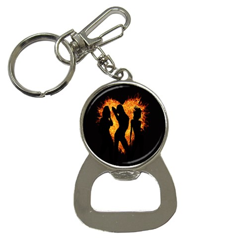 Heart Love Flame Girl Sexy Pose Bottle Opener Key Chains