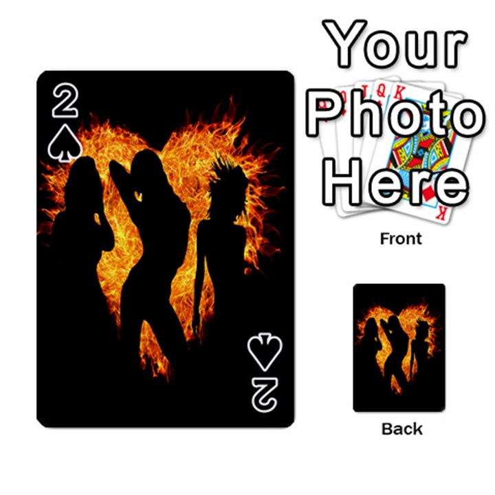 Heart Love Flame Girl Sexy Pose Playing Cards 54 Designs