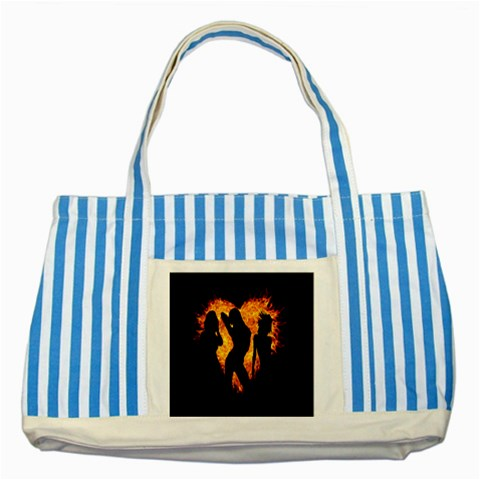 Heart Love Flame Girl Sexy Pose Striped Blue Tote Bag