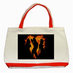 Heart Love Flame Girl Sexy Pose Classic Tote Bag (Red)