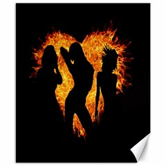 Heart Love Flame Girl Sexy Pose Canvas 8  x 10