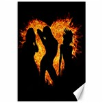 Heart Love Flame Girl Sexy Pose Canvas 12  x 18   18 x12 Canvas - 1