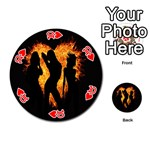 Heart Love Flame Girl Sexy Pose Playing Cards 54 (Round)  Front - Heart10
