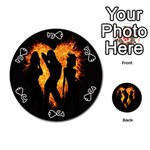 Heart Love Flame Girl Sexy Pose Playing Cards 54 (Round)  Front - SpadeJ