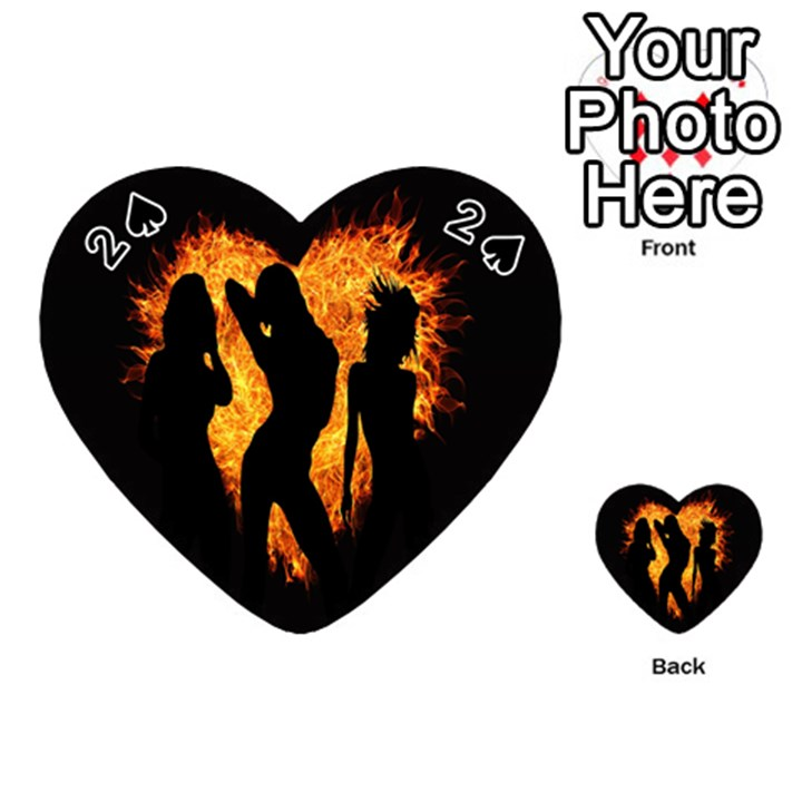 Heart Love Flame Girl Sexy Pose Playing Cards 54 (Heart)