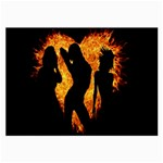 Heart Love Flame Girl Sexy Pose Large Glasses Cloth (2-Side) Front