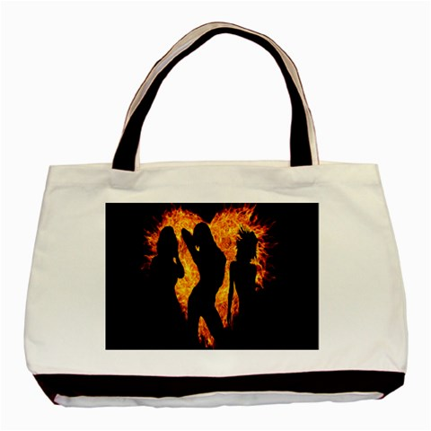 Heart Love Flame Girl Sexy Pose Basic Tote Bag (Two Sides)