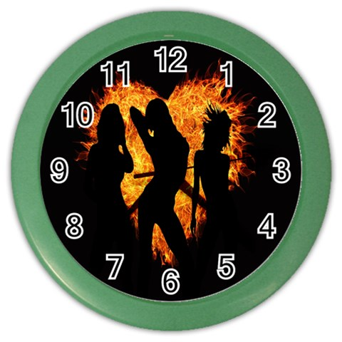 Heart Love Flame Girl Sexy Pose Color Wall Clocks