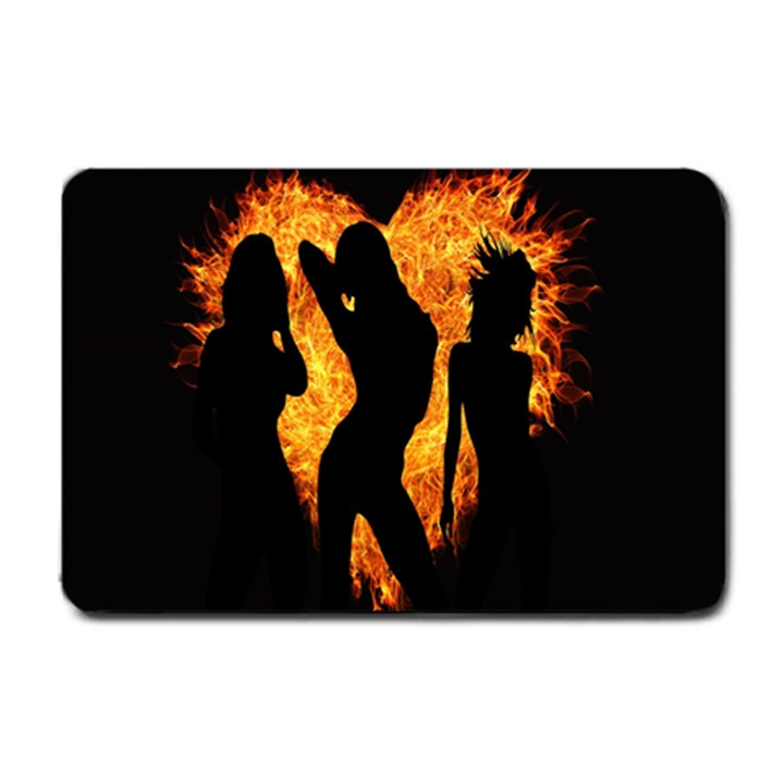 Heart Love Flame Girl Sexy Pose Small Doormat