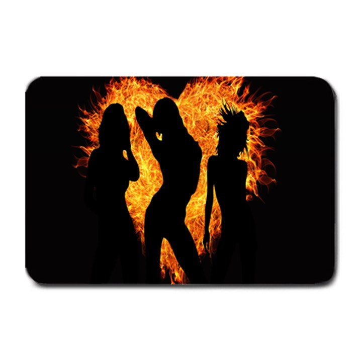 Heart Love Flame Girl Sexy Pose Plate Mats