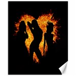 Heart Love Flame Girl Sexy Pose Canvas 11  x 14   14 x11 Canvas - 1