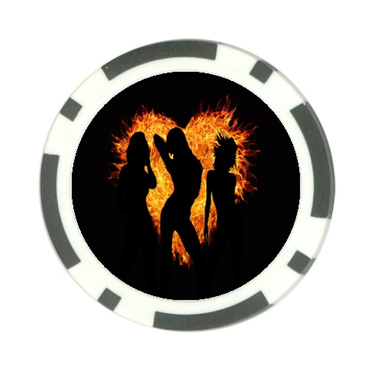 Heart Love Flame Girl Sexy Pose Poker Chip Card Guards