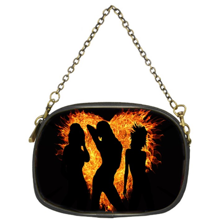Heart Love Flame Girl Sexy Pose Chain Purses (Two Sides)
