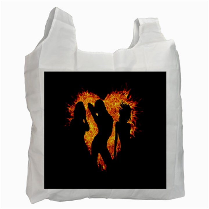 Heart Love Flame Girl Sexy Pose Recycle Bag (One Side)