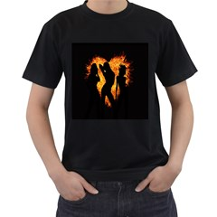 Heart Love Flame Girl Sexy Pose Men s T-Shirt (Black)