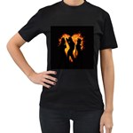 Heart Love Flame Girl Sexy Pose Women s T-Shirt (Black) Front