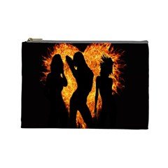 Heart Love Flame Girl Sexy Pose Cosmetic Bag (Large)
