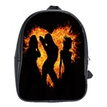 Heart Love Flame Girl Sexy Pose School Bags(Large)  Front