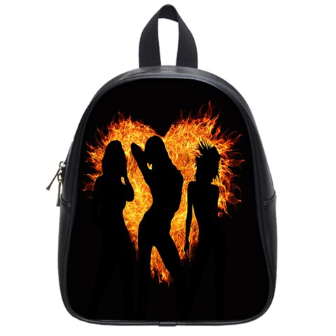 Heart Love Flame Girl Sexy Pose School Bags (Small)