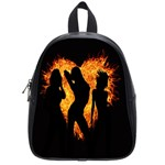 Heart Love Flame Girl Sexy Pose School Bags (Small)  Front