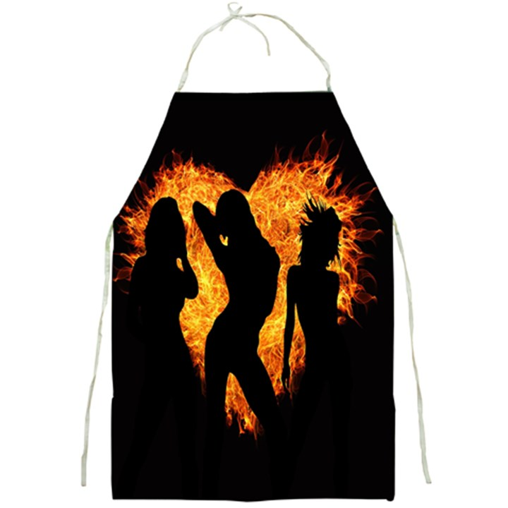 Heart Love Flame Girl Sexy Pose Full Print Aprons
