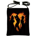 Heart Love Flame Girl Sexy Pose Shoulder Sling Bags Front