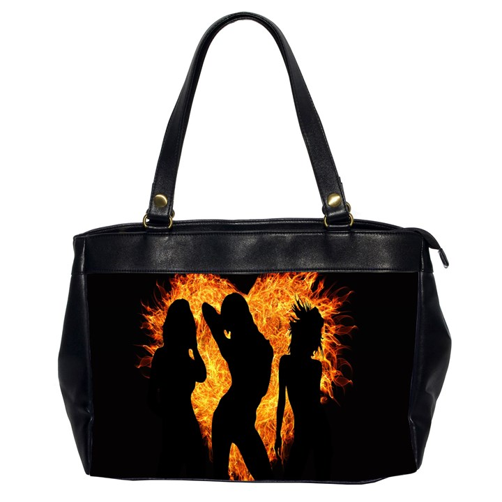Heart Love Flame Girl Sexy Pose Office Handbags (2 Sides)