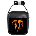 Heart Love Flame Girl Sexy Pose Girls Sling Bags Front