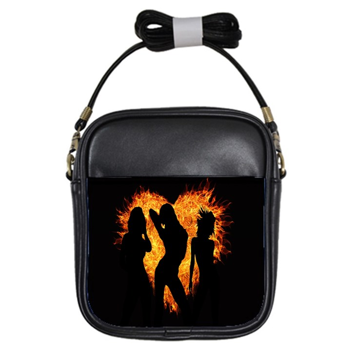 Heart Love Flame Girl Sexy Pose Girls Sling Bags