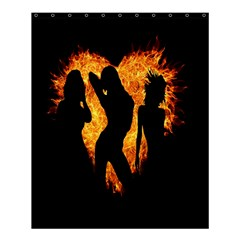 Heart Love Flame Girl Sexy Pose Shower Curtain 60  x 72  (Medium)