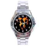 Heart Love Flame Girl Sexy Pose Stainless Steel Analogue Watch Front