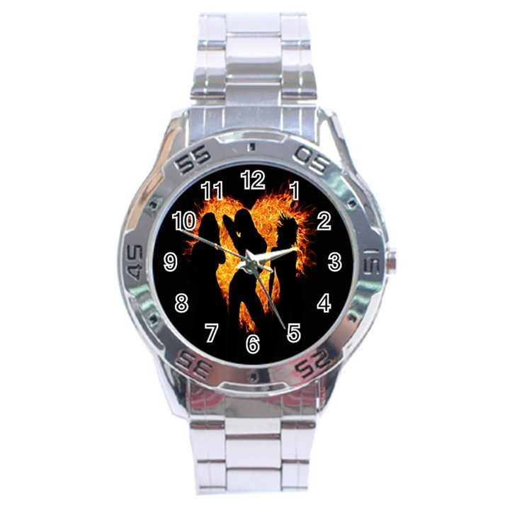 Heart Love Flame Girl Sexy Pose Stainless Steel Analogue Watch