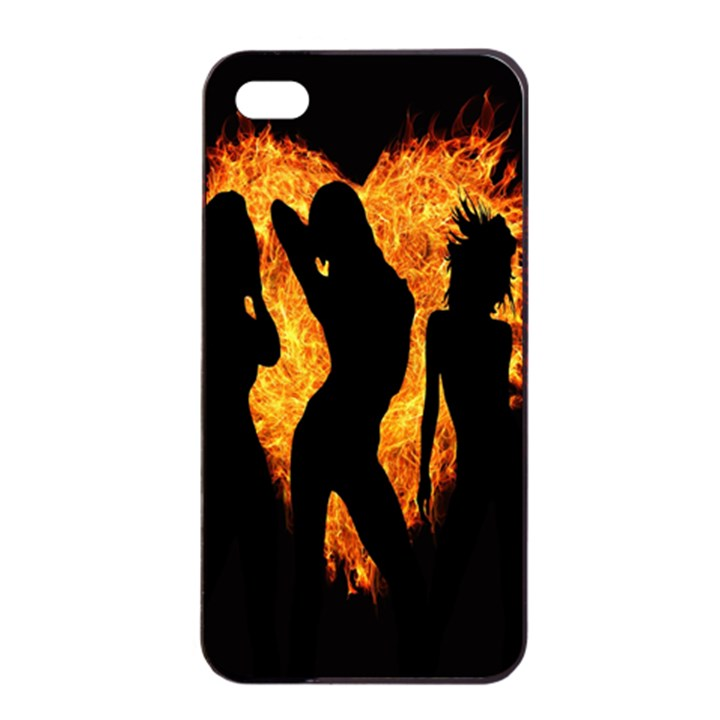 Heart Love Flame Girl Sexy Pose Apple iPhone 4/4s Seamless Case (Black)
