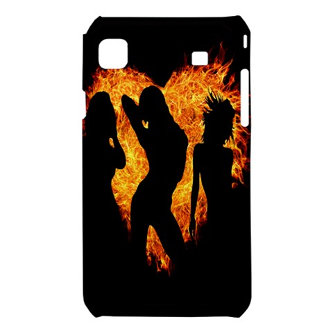 Heart Love Flame Girl Sexy Pose Samsung Galaxy S i9008 Hardshell Case