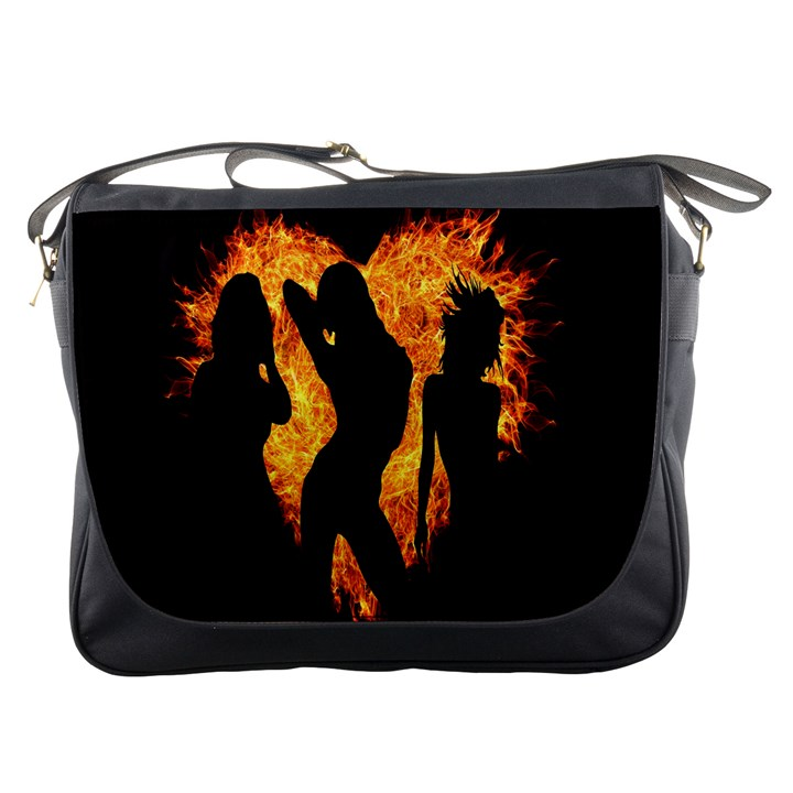 Heart Love Flame Girl Sexy Pose Messenger Bags